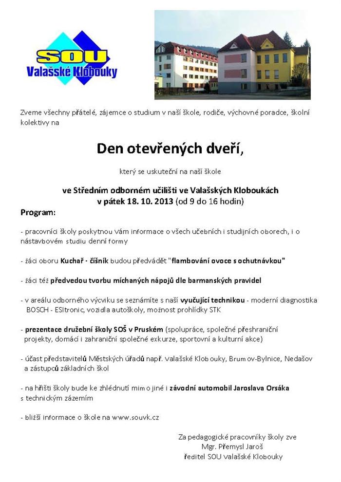 bb748fe5501 Den otevřených dveří na SOU Valašské Klobouky  Valašské Klobouky